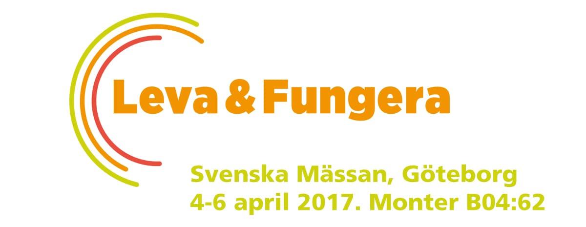 Logotype för mässan Leva och Fungera samt informationstext.