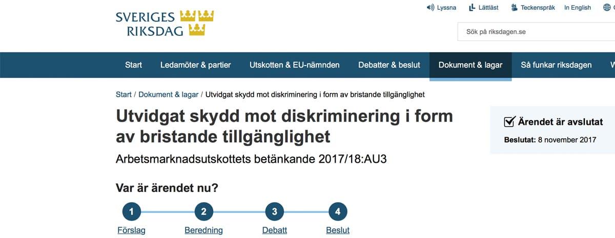 """Urklipp från Riksdagens hemsida som visar rubriken """"Utvidgat skydd mot diskriminering i form av bristande tillgänglighet""""."""