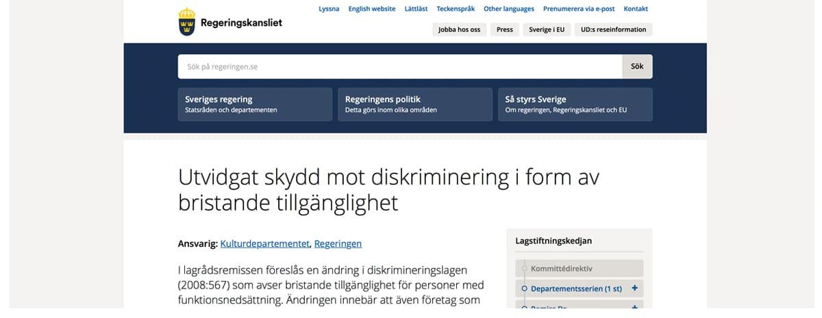 urklipp från Regeringskansliets hemsida angående utvidgat skydd mot diskriminering.