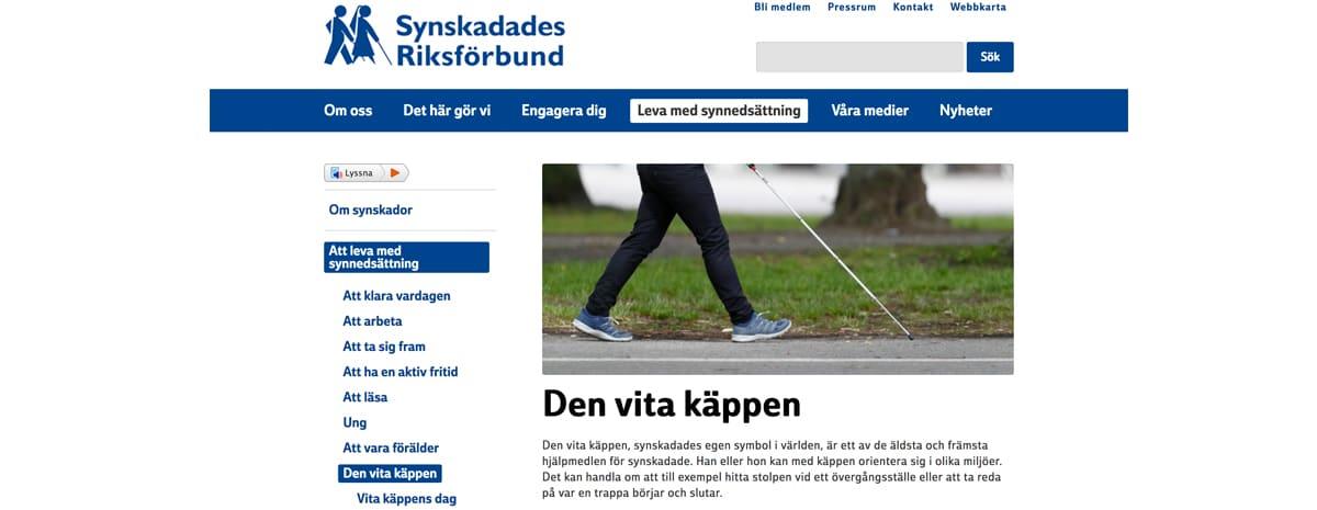 Vita Käppens dag den 15 oktober. Bilden visar ett klipp från SRF´s hemsida med information om käppen.