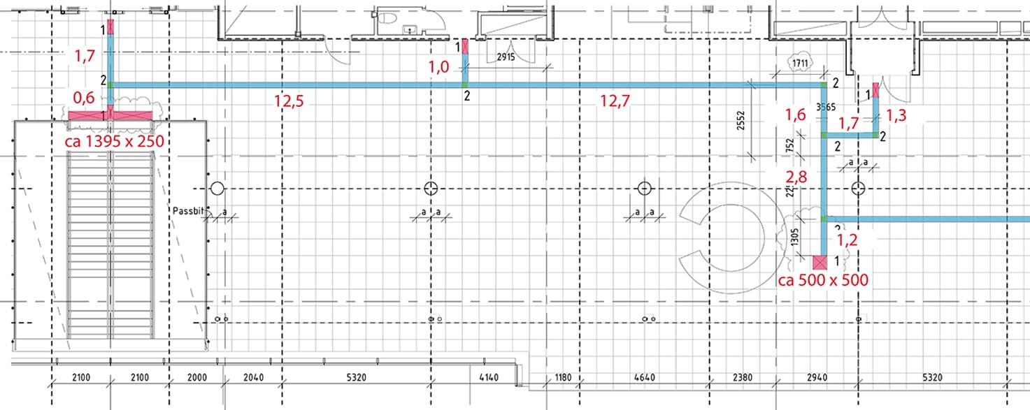 bilden visar en arbetsritning från Kungliga musikhögskolan i Stockholm, där vi på Matting skissat in/ritat in stråket och mätt upp sträckor och ytor. Denna typ av ritning används för uträkning av materialåtgång samt som underlag för installatörer på plats.