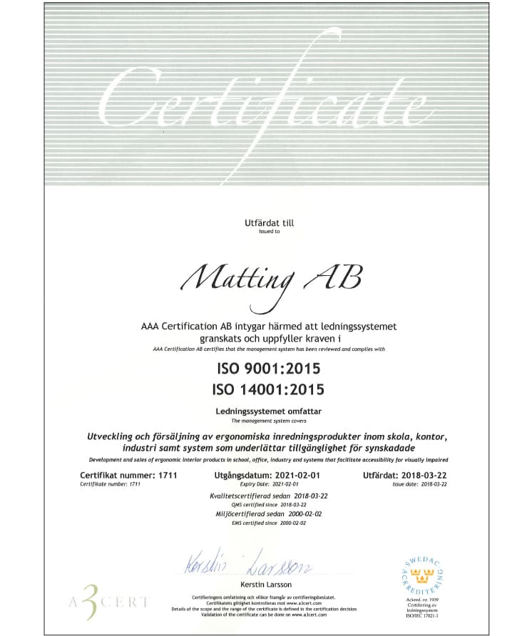 Matting AB - Certifikat ISO 14001 and 9001