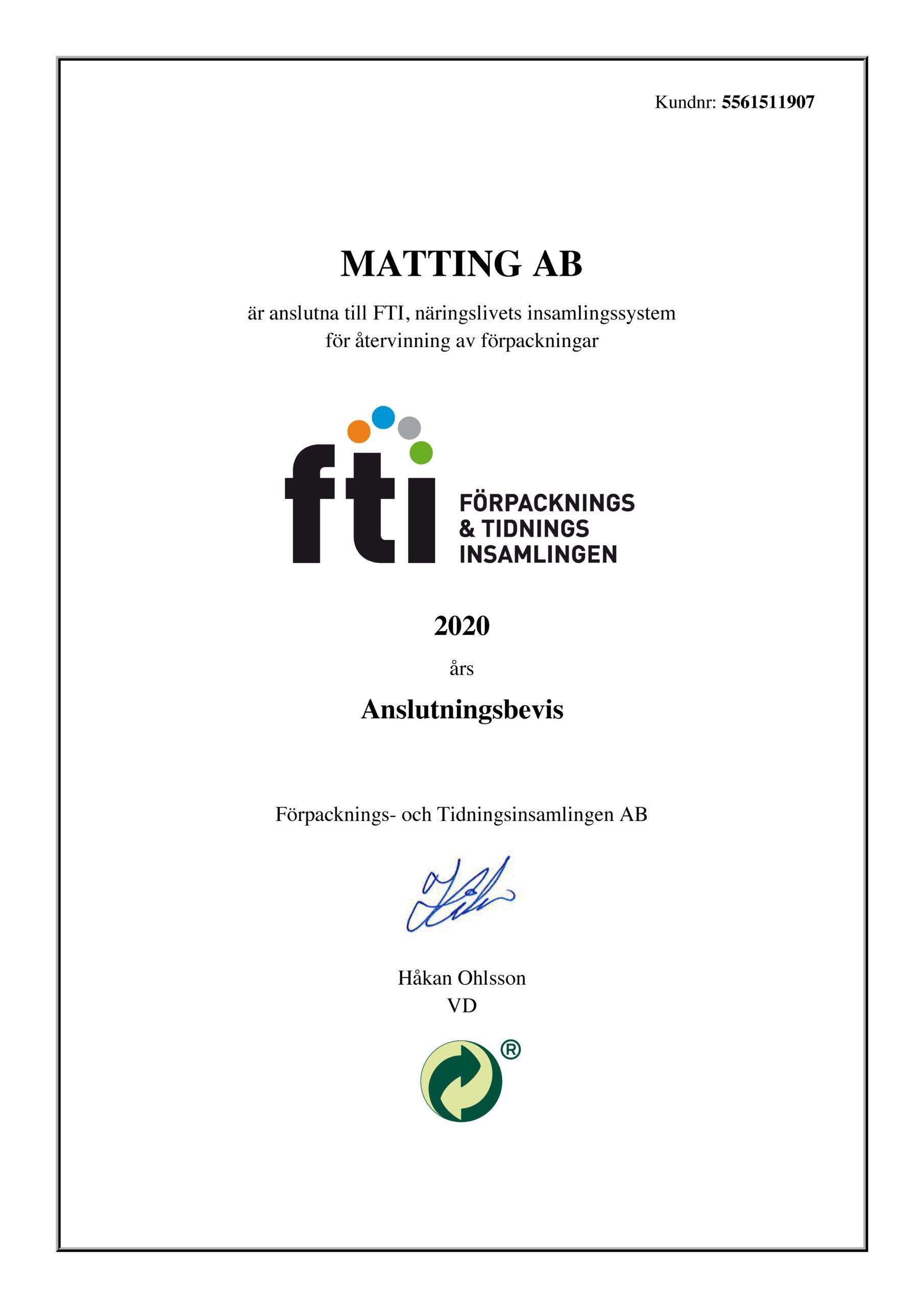 FTI Anslutningsbevis 2020