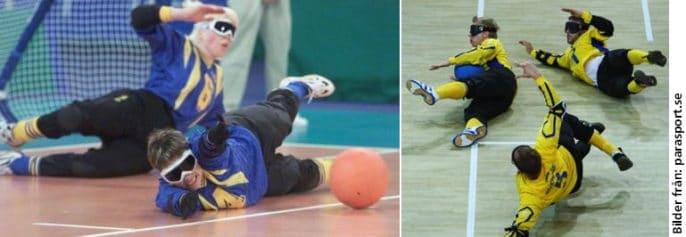 Bildkollage på goalball-spelare. Bilden till vänster föreställer två tjejer som liggande skyddar sitt mål när den orange bollen närmar sig. Bilden till höger visar tre män, också de i liggande position för räddning. Biler hämtade från parasport.se