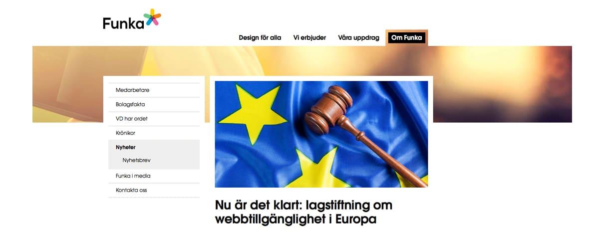 Bild från funka.nu som visar del av en EU-flagga och en ordförandeklubba. Text: Nu är det klart: lagstiftning om webbtillgänglighet i Europa