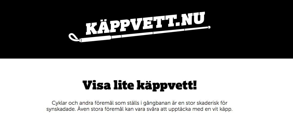 Svart/vit bild med del av Käppvett.nu´s hemsida.