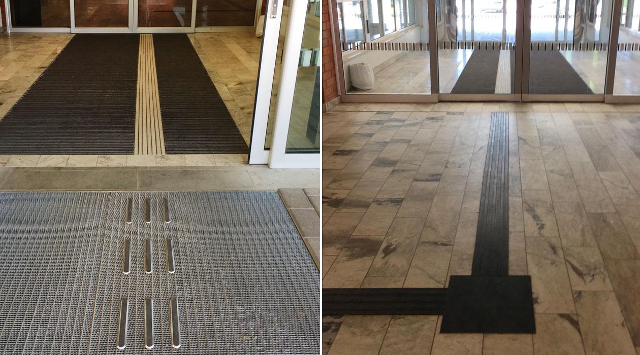 Tactile Flooring- Vrinnevisjukhuset i Norrköping med ny tillgänglig entrélösning. Gummiledstråk inne i foajén.