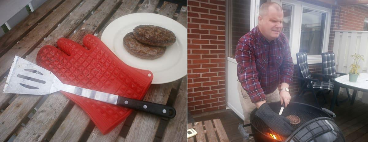 """Bildkollage. Bilden till vänster visar ett bord med två perfekt grillade burgare tillsammans med den röda grillvanten och stekspaden. Bilden till höger visar Fredrik """"in action"""" när han med hjälp av stekspade och grillvante vänder hamburgare på den glödande grillen."""