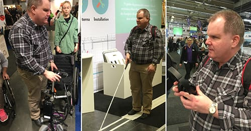 Bildkollage från besöket på mässan. Fredrik känner på en rullstol. Fredrik med vit käpp i Matting/Tactile Floorings monter och Fredrik med hörlurar i handen.