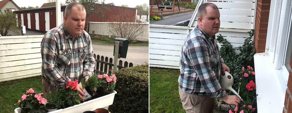 Till vänster: Fredrik planterar sommarblommor i sin blomsterlåda. Till höger: Lådan på plats och det vattnas.