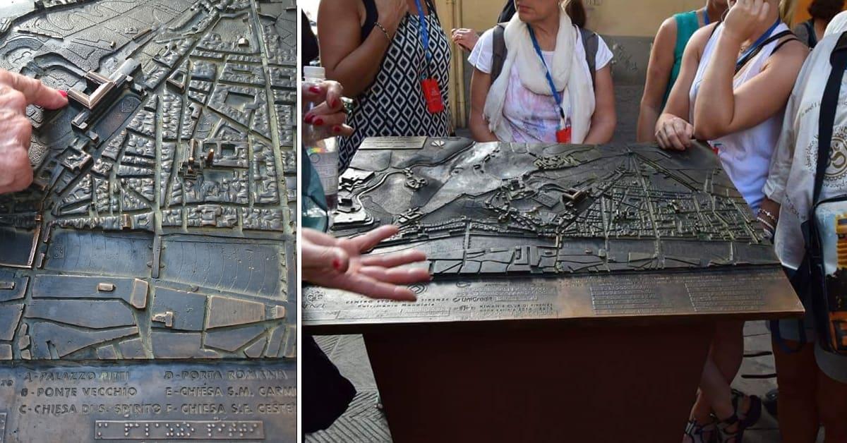 Bilder från Florens i Italien som visar en taktil karta över en stadsdel, med höjdskillnader i landskapet och byggnader som sticker upp ur kartan. Under kartan så finns information i text om vad de olika sevärdheterna är belägna på kartan (numrerade), även i punktskrift.