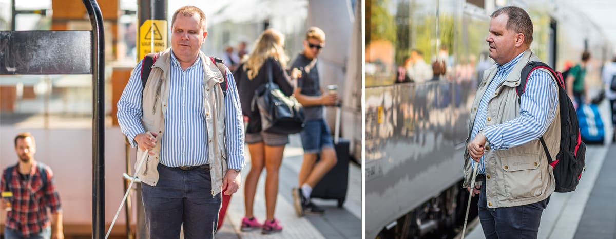 Till vänster; Fredrik stöter på en skylt på stationen. Till höger; med käppen känner Fredrik av skyddstråket som talar om att perrongkanten/tåget är nära.